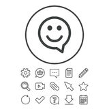 Happy face speech bubble symbol. Smile icon. Stock Images