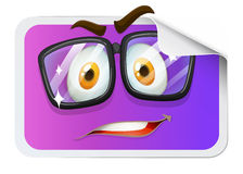 Happy face on sticker Stock Image