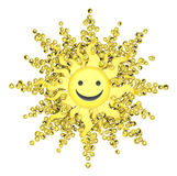 Happy Face Sun. Happy face small icon 3d objects, horizontal, over white Royalty Free Stock Images