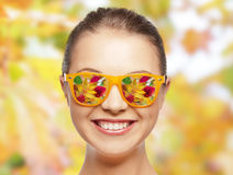 Happy face of teenage girl in sunglasses Stock Photos