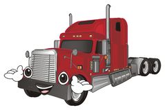 Happy face of trailer. Happy face of red american trailer with hands vector illustration