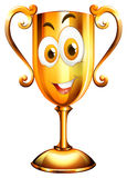 Happy face on trophy Stock Images