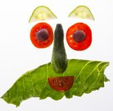 Happy face from vegetable. Food for children stock photo