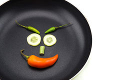 Happy face with vegetables on pan Stock Image