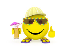 Happy face yellow ball in summer clothes Royalty Free Stock Image