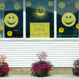 Happy Face Yellow Smile Window Royalty Free Stock Photography