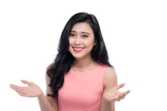 Happy face of young asian woman over white. Stock Photos