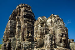 Happy Faces Bayon Temple Eye Level Royalty Free Stock Photos