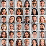 Happy faces collage. Collage of smiling faces of men and women royalty free stock photos