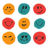 Happy faces. Cute vector set of hand drawn funny faces Royalty Free Stock Image