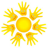 Happy faces hands sun. Isolated yellow sun from ring of happy smily palm faces on white background - kids theme Royalty Free Stock Images