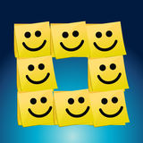 Happy faces on a set of post it. illustration Royalty Free Stock Images