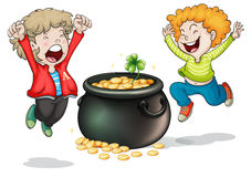 Happy faces of two kids with a pot of money Royalty Free Stock Photo
