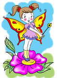Happy funny  cute  fairy girl standing on a flower Stock Photography