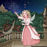 Happy fairy with magic wand in castle Royalty Free Stock Photos