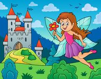 Happy fairy near castle Royalty Free Stock Image