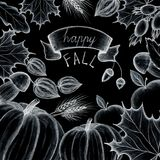 Happy fall. Concept of the holiday of autumn and harvest. Hand drawing. The leaves of the trees are maple, oak. Pumpkin, apple, mu. Happy fall. Concept of the royalty free stock photography