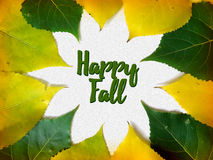 Happy fall congratulation card with yellow and green leaves. Autumn tree leaves and text vector illustration