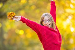 Happy fall girl smiling and joyful holding autumn leaves. Beautiful young girl with maple leaves in red cardigan Royalty Free Stock Photography