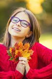 Happy fall girl smiling and joyful holding autumn leaves. Beautiful young girl with maple leaves in red cardigan Royalty Free Stock Image