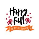 Happy Fall hand drawn text with harvest symbols stock illustration