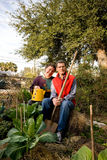 Happy in the Fall Kitchen Garden Stock Image