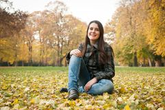 Happy fall lifestyle portrait Stock Image