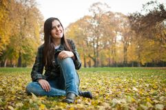 Happy fall lifestyle portrait Stock Images