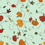 Happy Fall Pumpkin Print Vector Seamless Repeat Pattern stock illustration