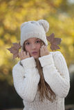 Happy fall teen girl Stock Photography