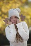 Happy fall teen girl Stock Photography