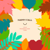 Happy fall template with autumn leaves and simple text stock illustration