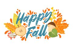 Free Happy Fall Typography Quotes With Autumns Elements. Vector Quotes With Autumns Leaves, Apple, Berries And Mushrooms. Stock Images - 194960754