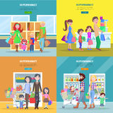 Happy Families Have Shopping in Big Supermarket. Stock Photos