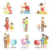 Happy Families With Kids And Babies Royalty Free Stock Photography