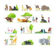 Happy families, kids with parents and wild zoo animals in wildlife park. Vector cartoon set isolated on white background. Illustration of giraffe and bird stock illustration