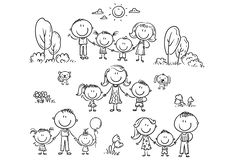 Happy families set with children, outline illustration stock illustration