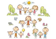 Happy families set with children, vector illustration royalty free illustration