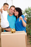 Happy familiy after move Royalty Free Stock Photo