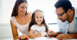 Happy familiy spending fun time at home royalty free stock images