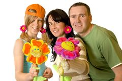 Happy Familly With Flowers Royalty Free Stock Images