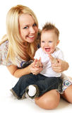 Happy family. Laughing baby boy and his happy mother Royalty Free Stock Photo