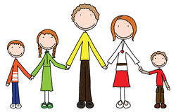 Happy family. Of five holding hands royalty free illustration