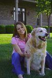Happy Family. Young Woman & Dog Stock Photo