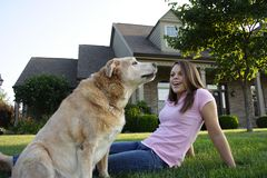 Happy Family. Young Woman & Dog Royalty Free Stock Photography