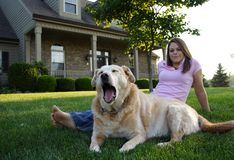 Happy Family. Young Woman & Dog Royalty Free Stock Image