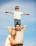 Happy family. Family of three people enjoying summer day Royalty Free Stock Images