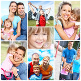 Happy family. Father, mother and children  in  park Stock Images