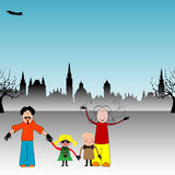 Happy family. Colorful illustration with male and female having fun with their children in a park vector illustration