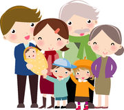 Happy Family. Father, mother, son and two daughters, and the grandparents Stock Image